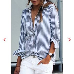 White and blue button down shirt!